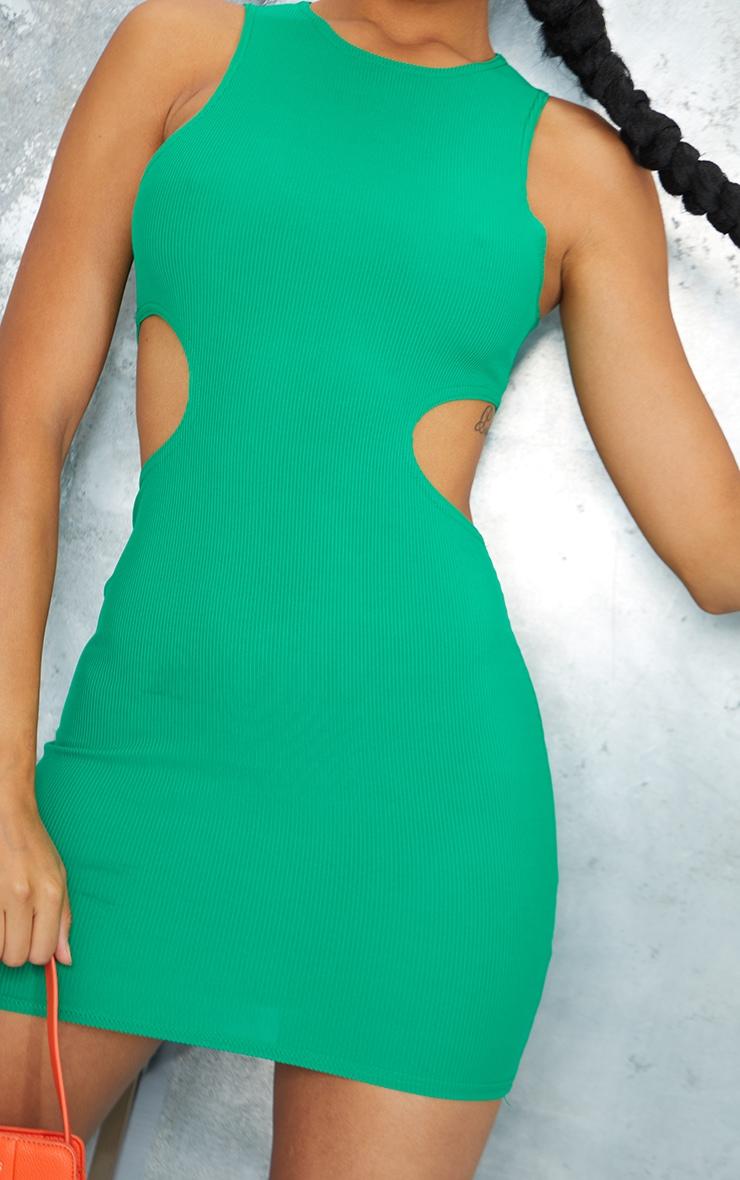 Green  Ribbed Sleeveless Cut Out Waist Bodycon Dress 4