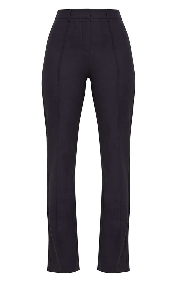 Navy High Waisted Straight Leg Trousers 3