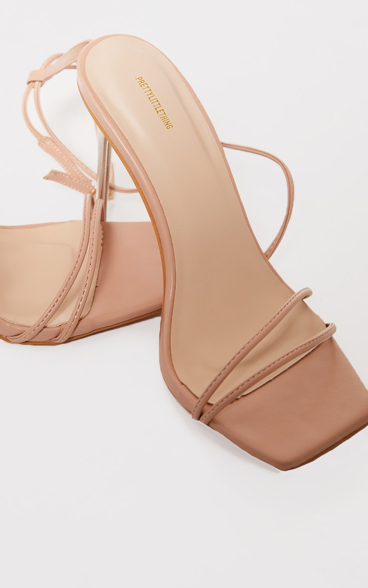 Nude PU Barely There Strappy Asymmetric High Heels 4