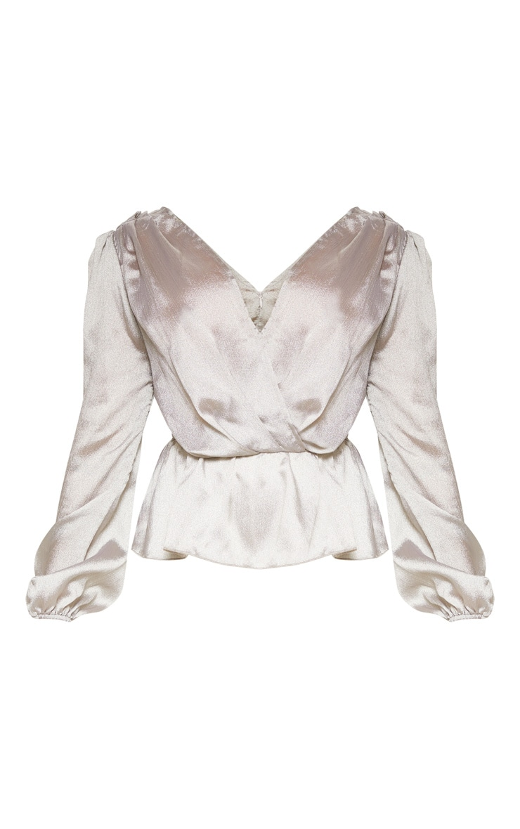 Petite Silver Deep V Wrap Front Long Sleeve Blouse 3