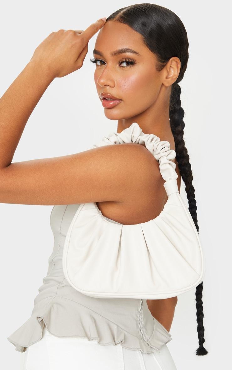 Cream Rouched Handle Shoulder Bag 4
