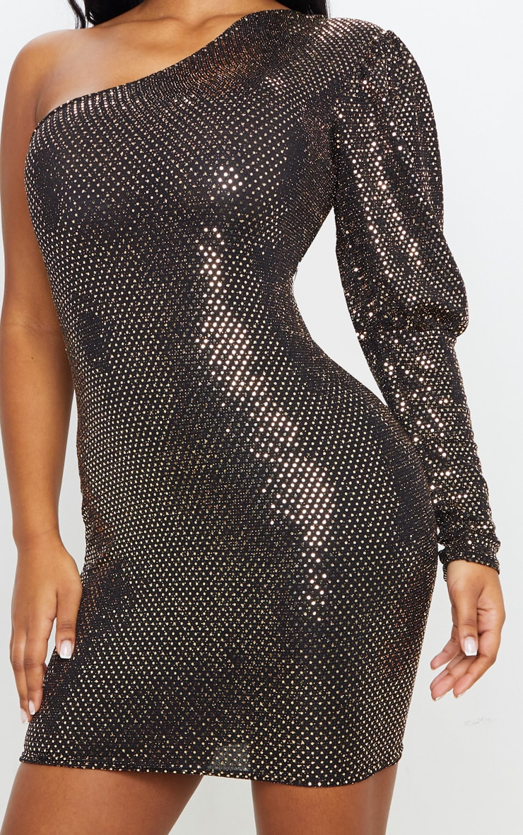 Gold Sequin Glitter One Shoulder Bodycon Dress 6
