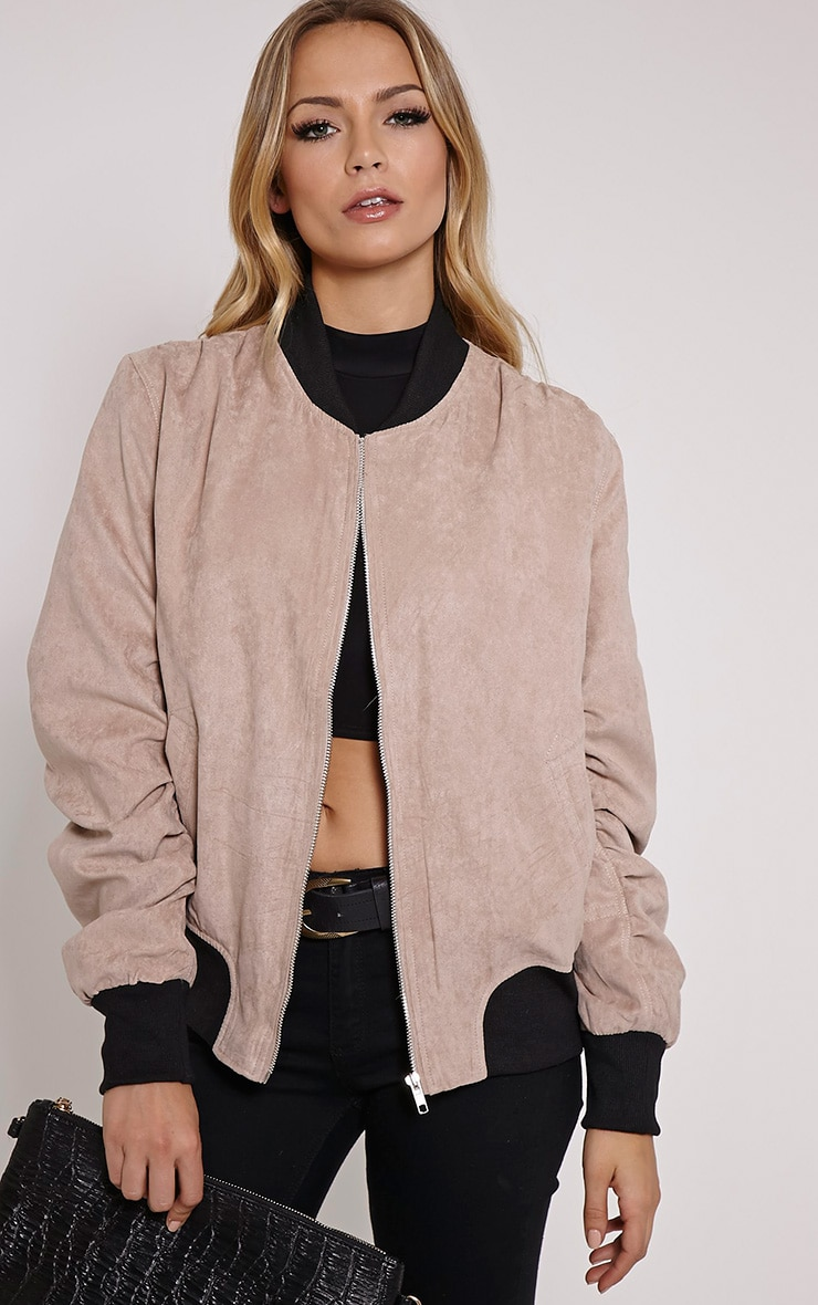 Poppie Blush Suede Bomber Jacket 1