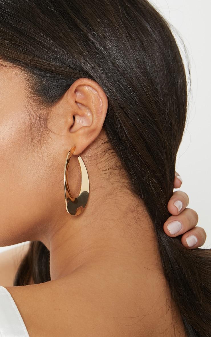 Gold Oval Medium Hoop Earrings 2