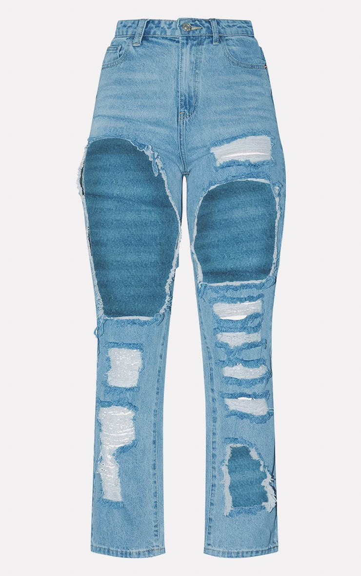 PRETTYLITTLETHING Light Wash Open Thigh Straight Leg Jean 3