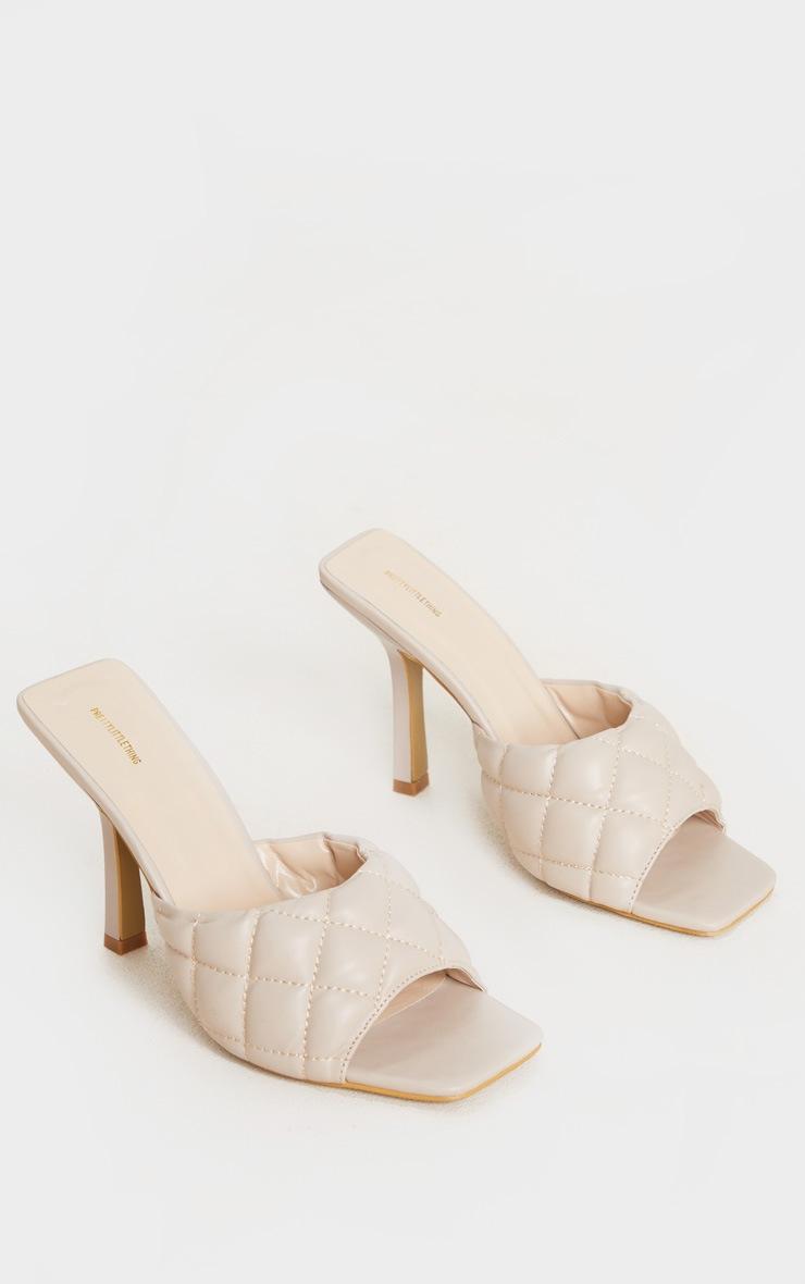 Nude Quilted High Heel Mule 3