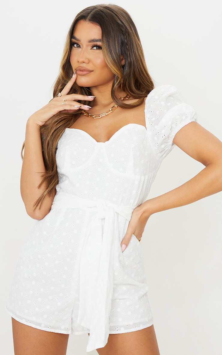 White Broderie Anglaise Puff Sleeve Cup Detail Playsuit 1