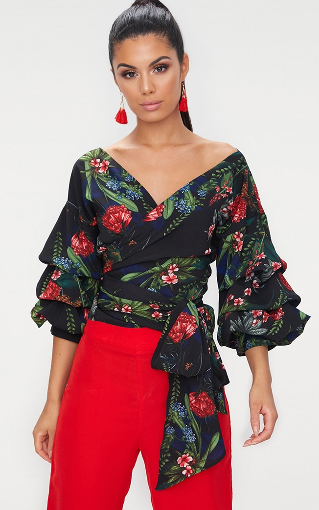 Black Floral Print Oversized Ruffle Wrap Shirt  1