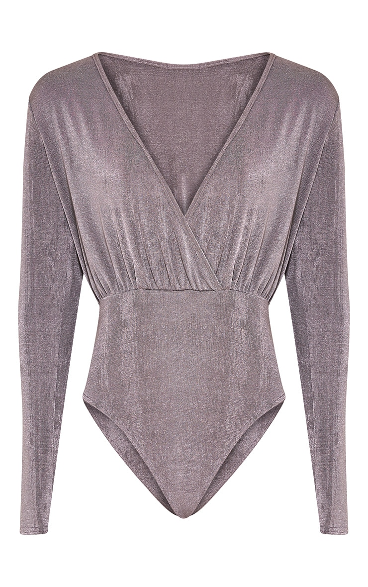 Saphire Grey Cross Front Slinky Bodysuit 2