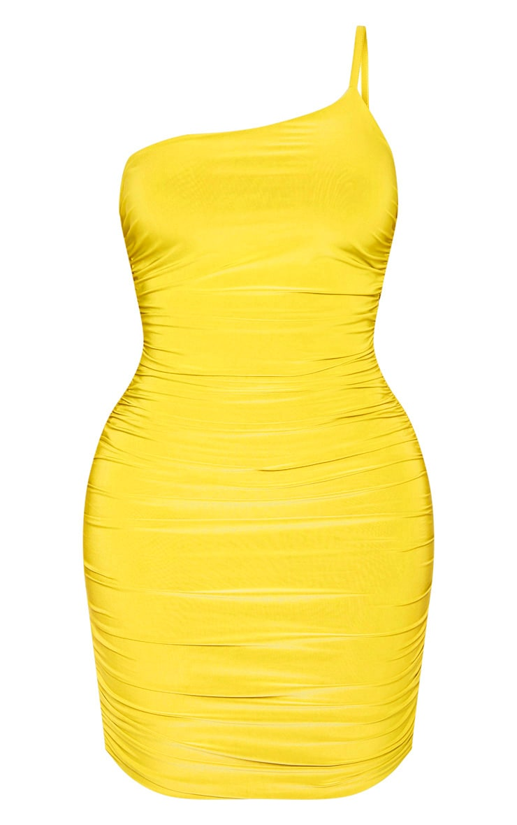 Shape Chartreuse Slinky Ruched Asymmetric Bodycon Dress 3