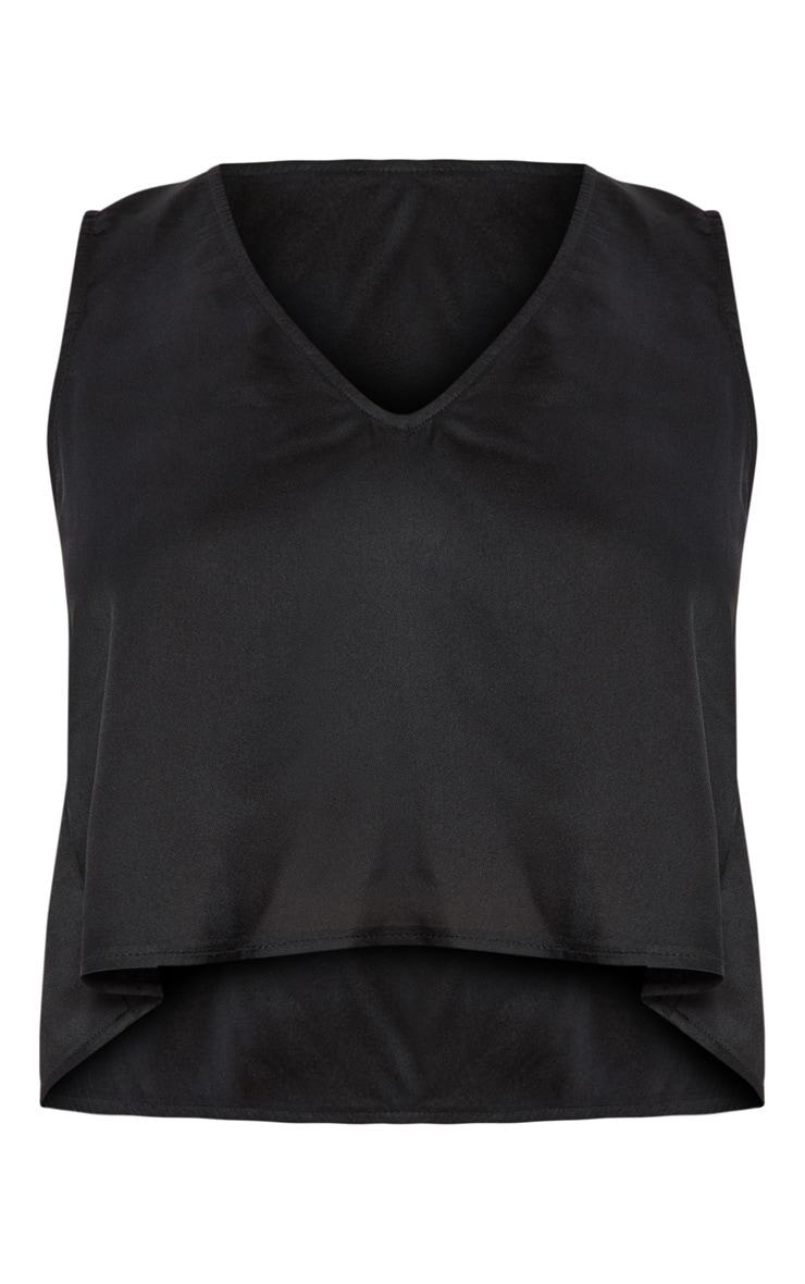 Black Satin Split Back Vest 3