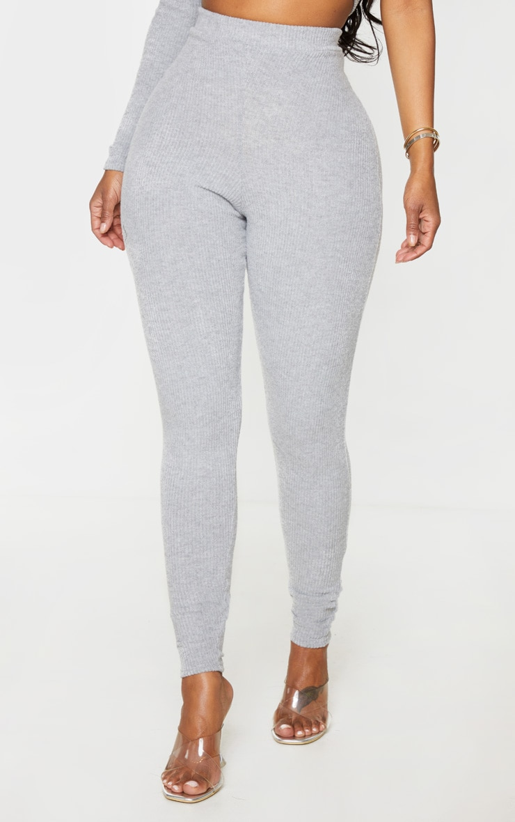 Shape Grey Brushed Rib High Waist Leggings 2