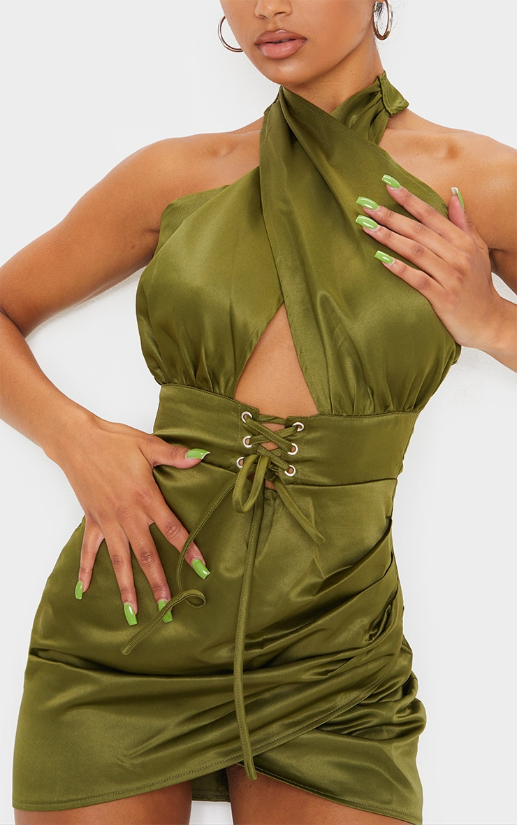 Olive Satin Halterneck Lace Up Ruched Bodycon Dress 3