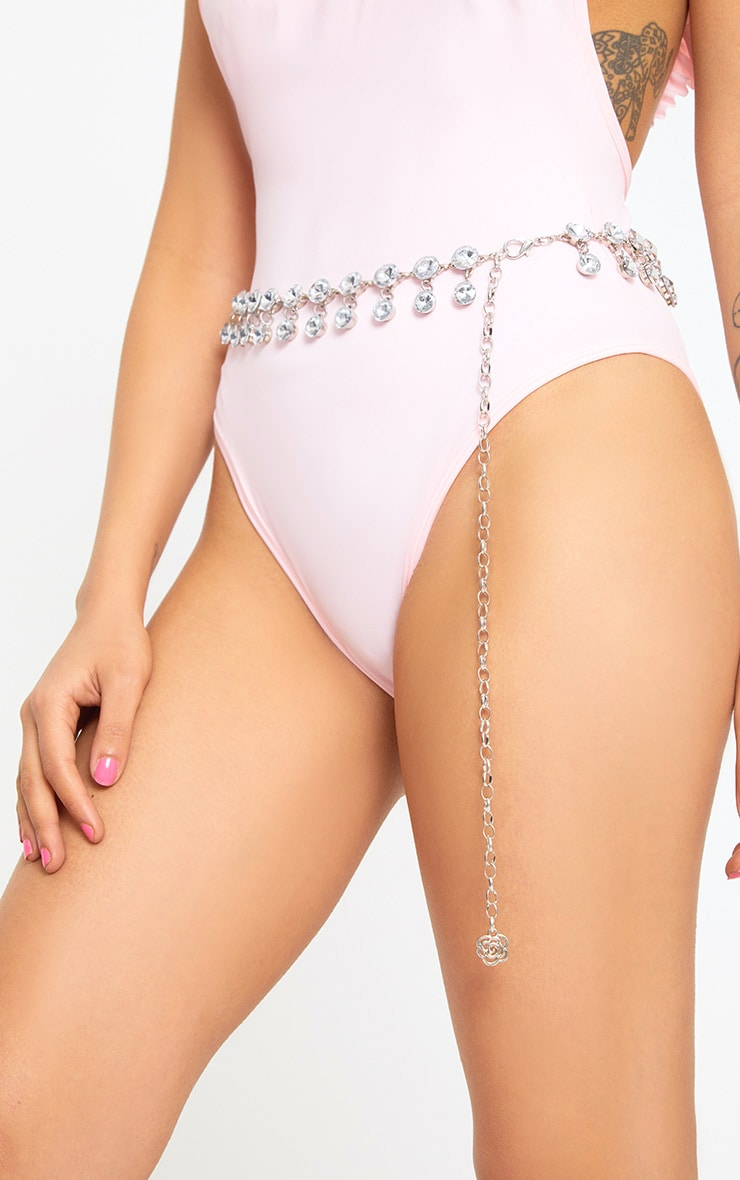 Silver Diamante Dangle Waist Belt 1