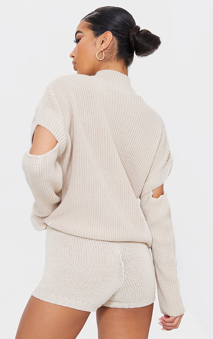 Oatmeal Cut Out Sleeve Knitted Crew Neck Sweater 2