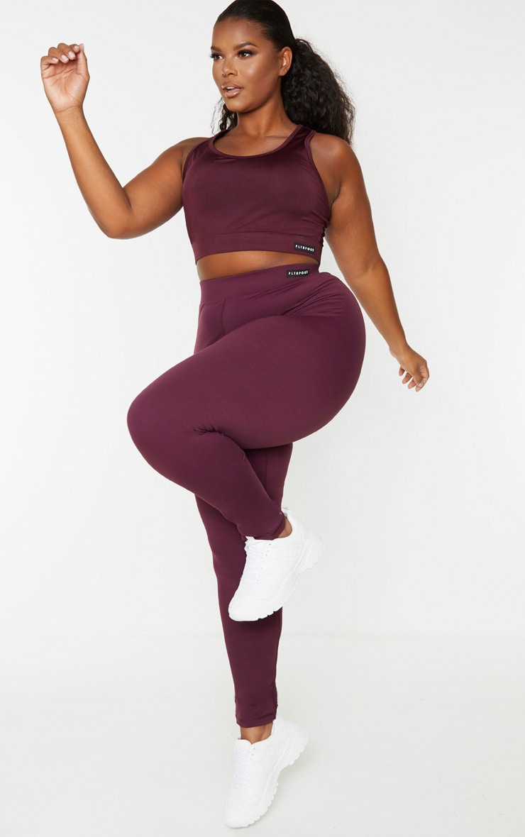 PRETTYLITTLETHING Plus Plum Racer Back Sports Bra 4