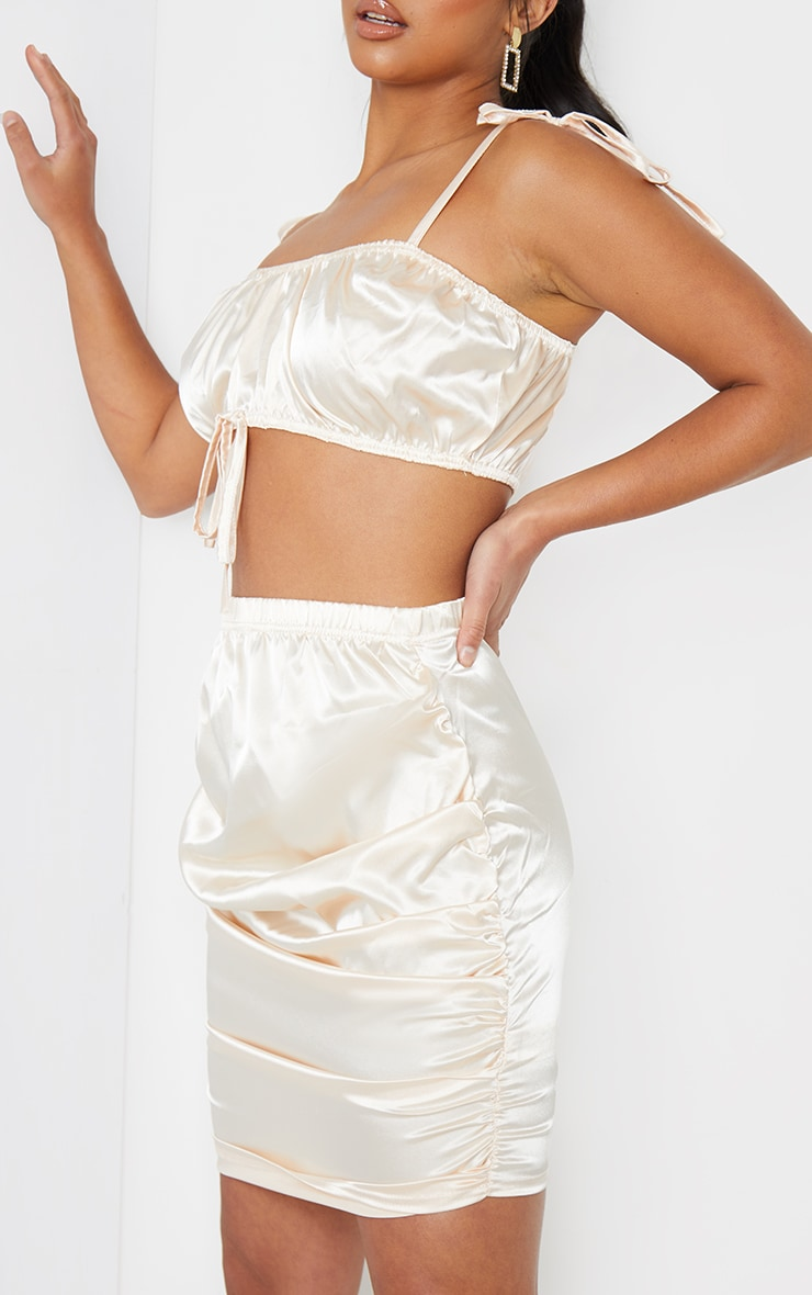 Petite Champagne Satin Ruched Skirt 5