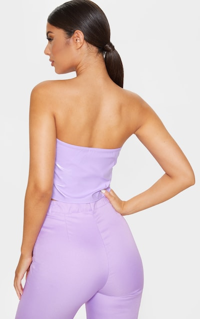 Lilac Patent Cup Detail Crop Top