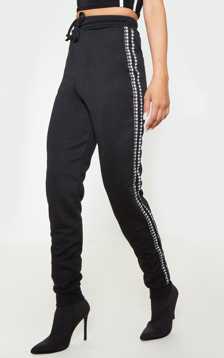 Black Houndstooth Side Stripe Jogger 2