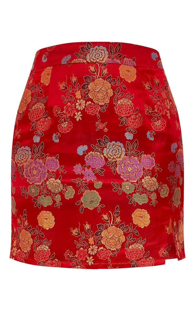 Red Oriental Jacquard Split Mini Skirt 3