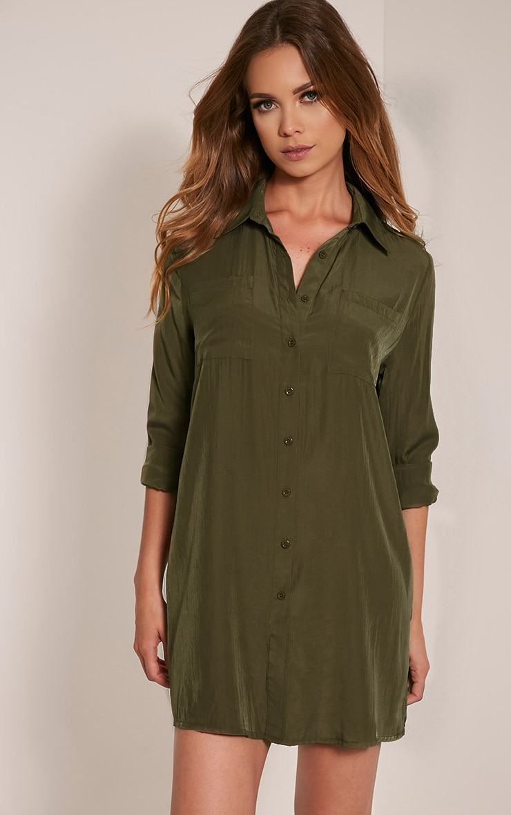 Reeana Khaki Floral Applique Silk Feel Shirt Dress 4