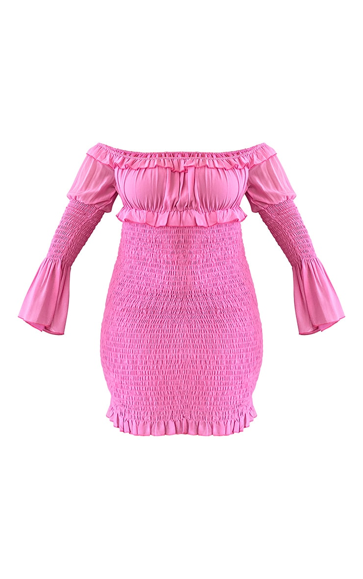 Plus Pink Chiffon Shirred Bodycon Dress 5