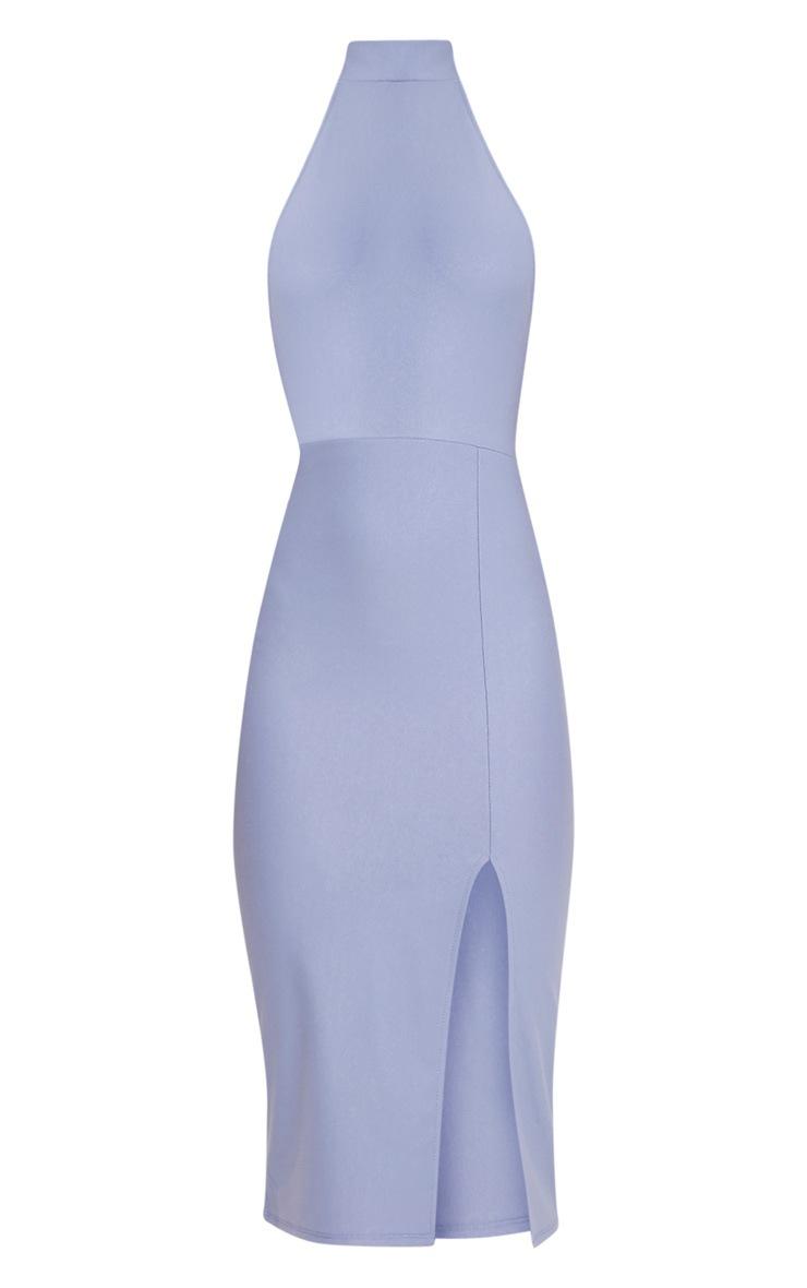 Trina Dusty Blue High Neck Split Front Midi Dress 3