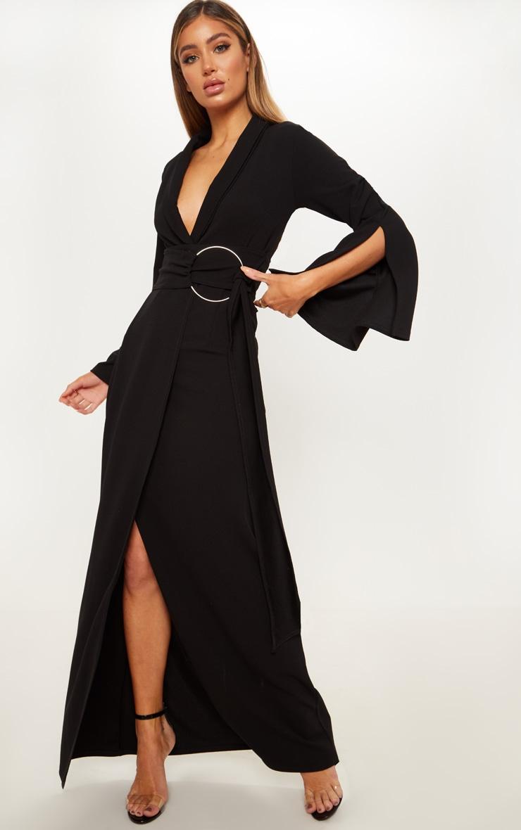 Black Ring Detail Maxi Blazer Dress 1