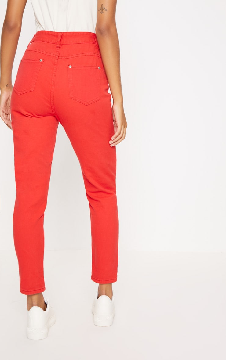 Red High Waisted Mom Jeans 4