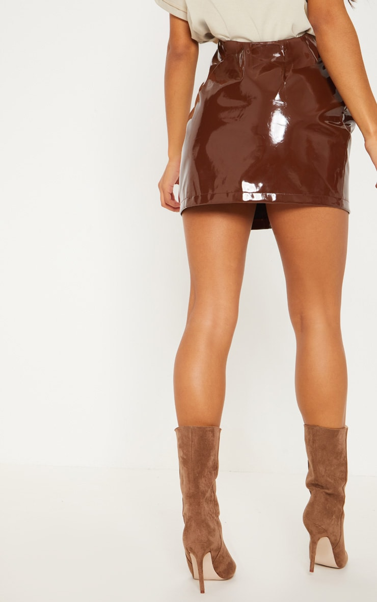 Chocolate Vinyl Lace Up Mini Skirt 4