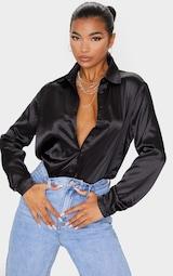 Black Satin Button Front Shirt 1