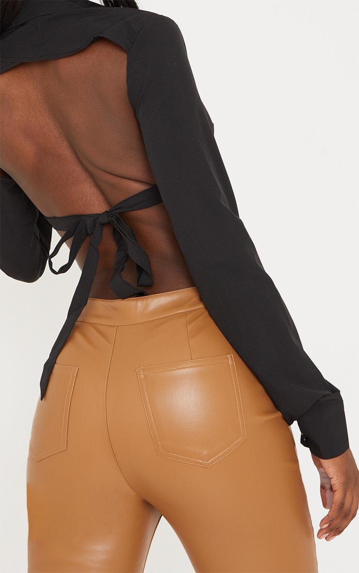 Tall Black Tie Back Cropped Long Sleeve Shirt 4