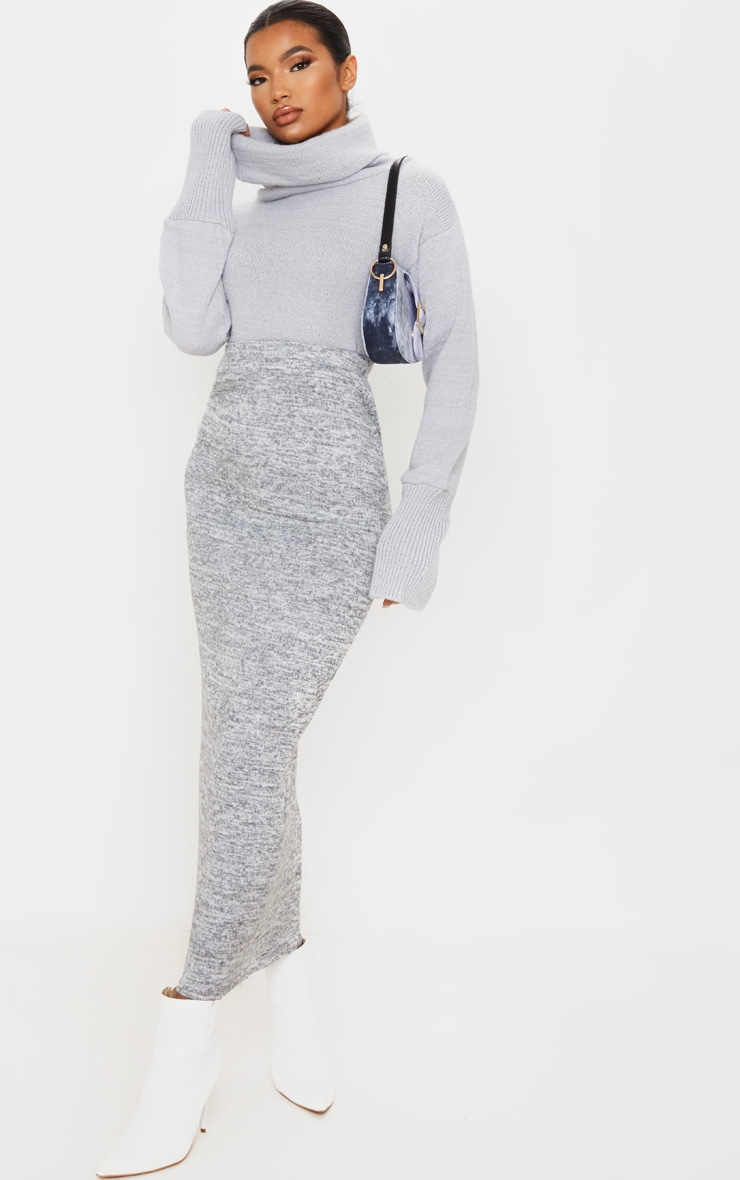Grey Brushed Marl Maxi Skirt 1