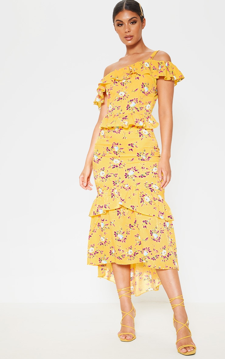 Yellow Floral Print One Shoulder Chiffon Midi Dress 1