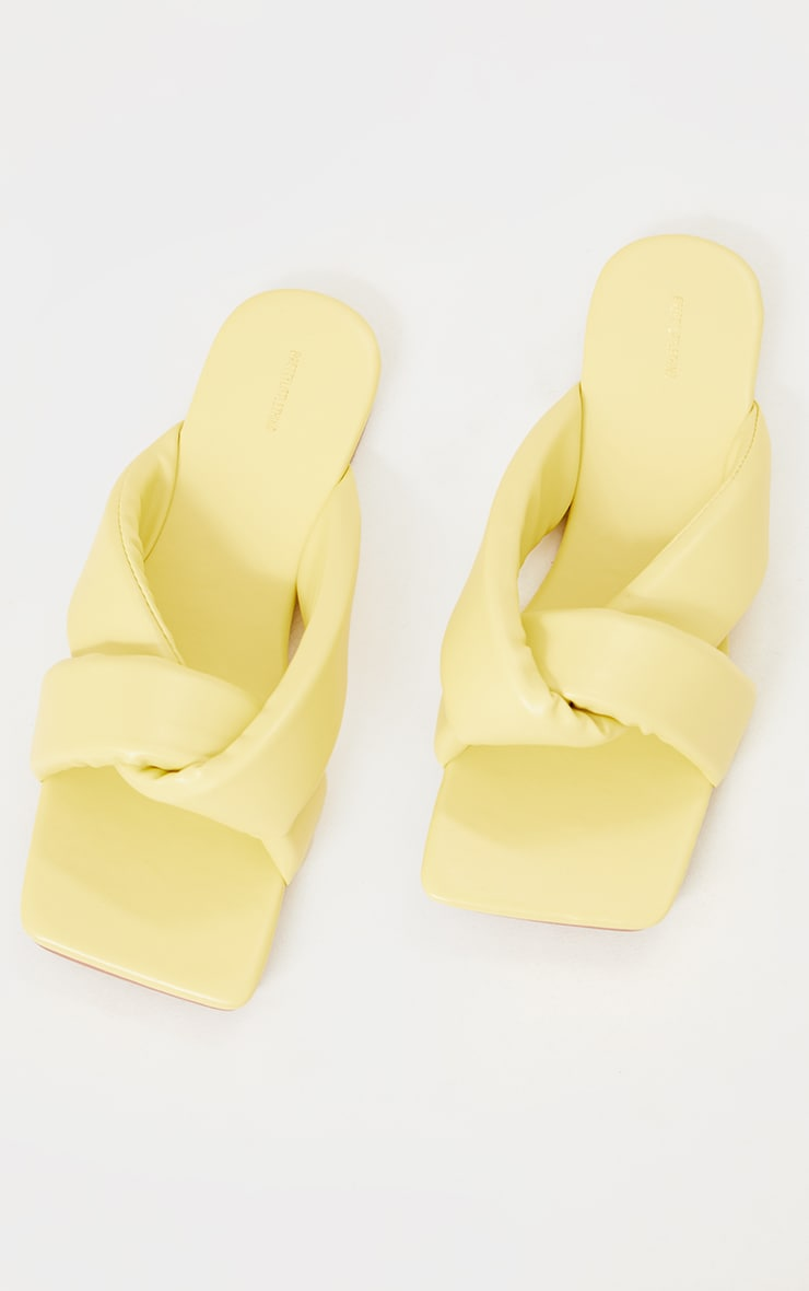 Pale Yellow PU Square Toe Extreme Quilted Knot Detail Mule Sandals 3