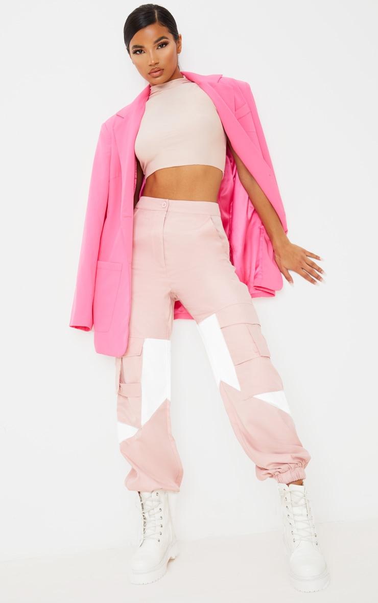 Pink Cargo Contrast Pocket Trouser 1
