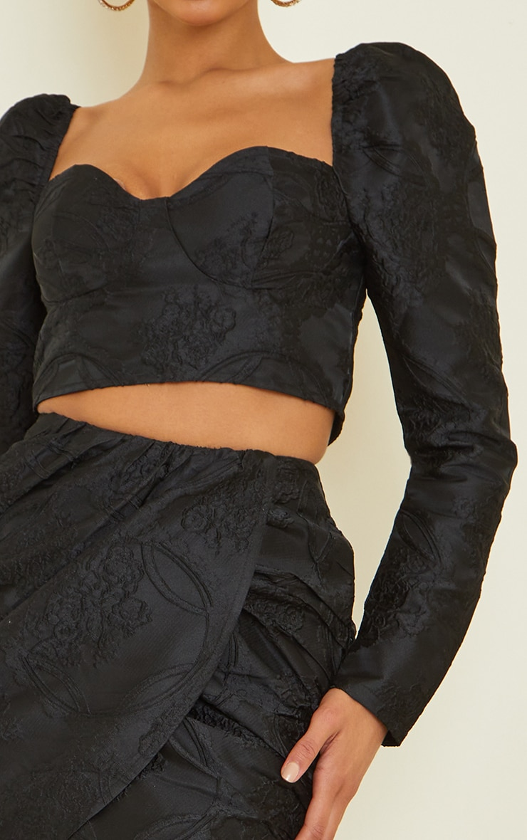 Black Structured Embossed Jacquard Cup Detail Puff Long Sleeve Crop Top 4