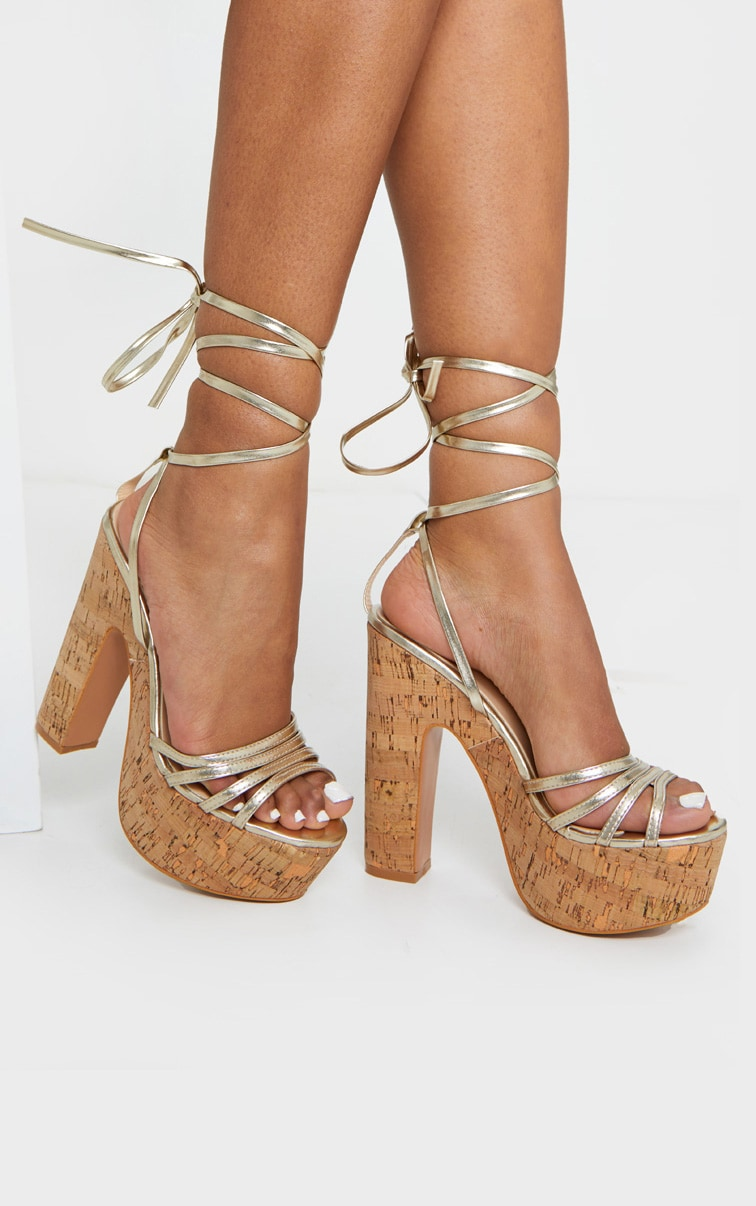 Gold Multi Strappy Ankle Tie Cork Platform Heeled Wedge Sandals 1