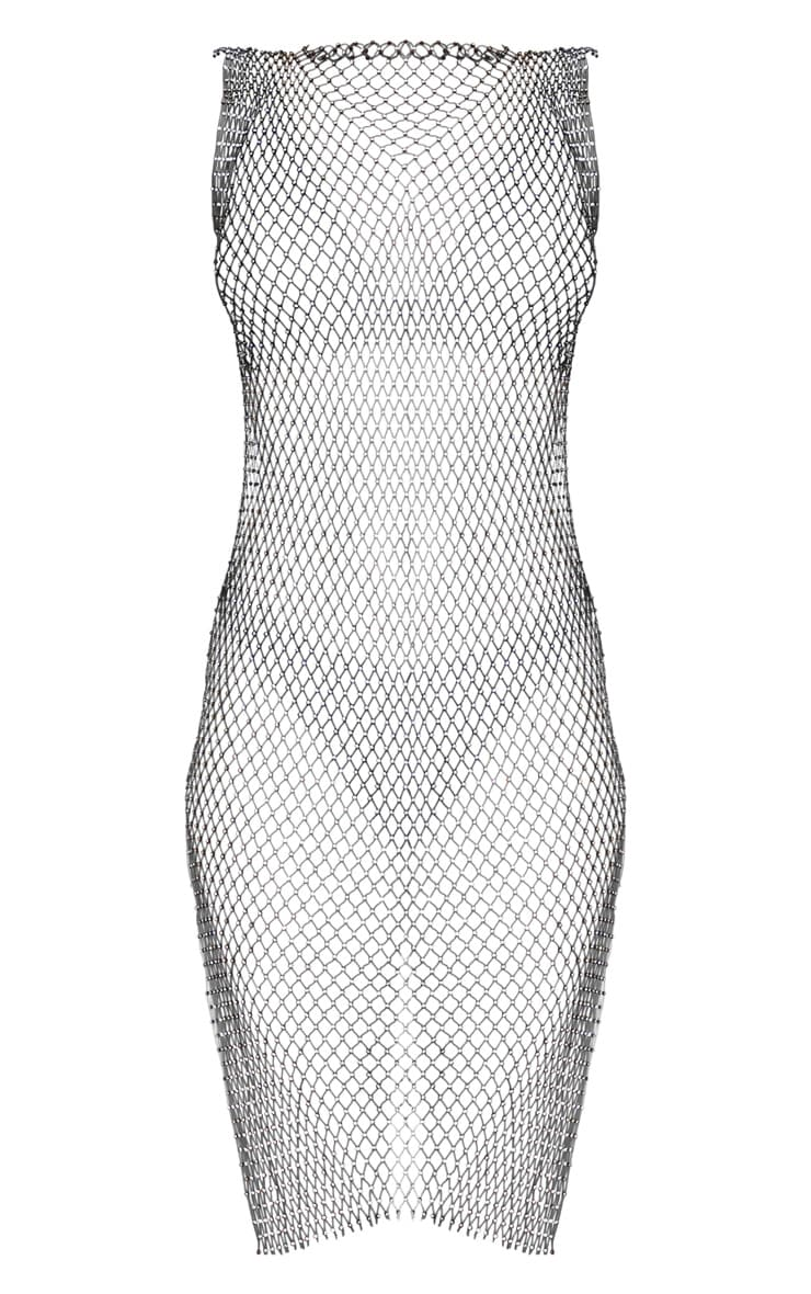 Black Diamante Fishnet Mini Dress  3