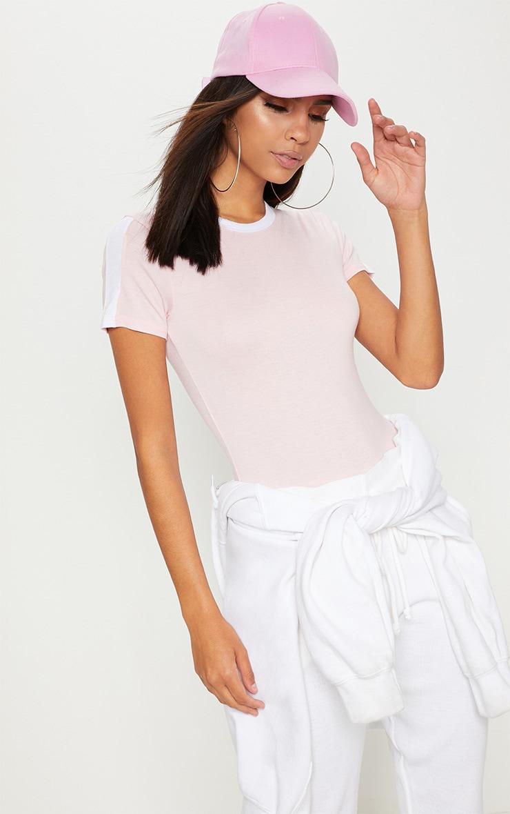 Pink Contrast Stripe Thong Bodysuit  1