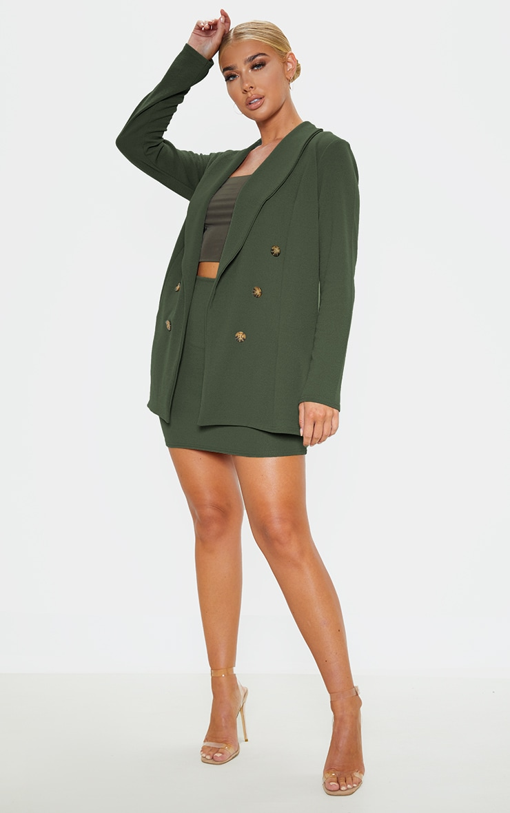 Khaki Oversized Button Detail Blazer 4
