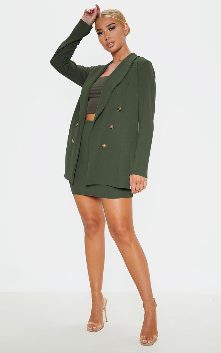 Khaki Oversized Button Detail Blazer  4