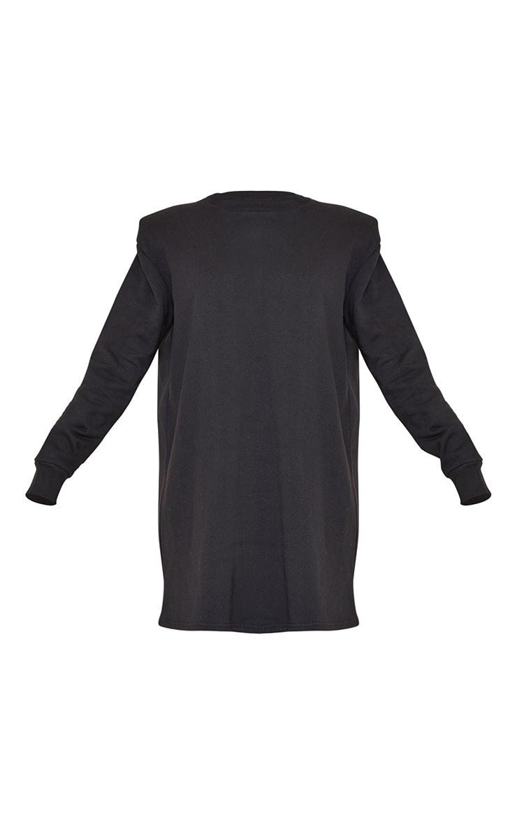 Black Shoulder Pad Detail Jumper Dress 5