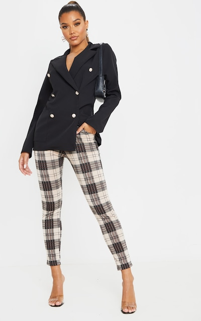 Stone Checked Skinny Trousers