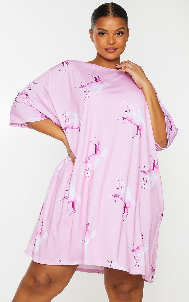 Plus PRETTYLITTLETHING Pink Unicorn Nightie 1