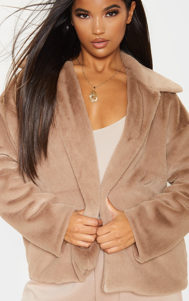 Taupe Oversized Faux Fur Jacket 5