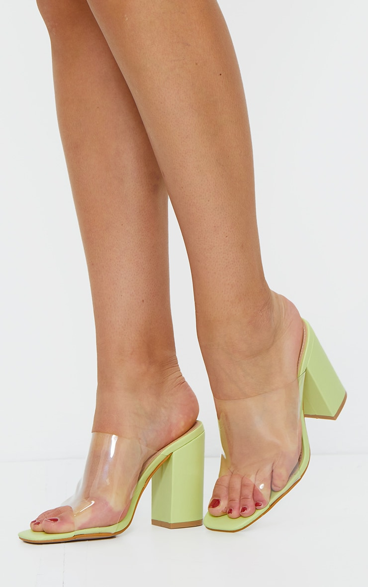 Soft Lime Square Toe Block Heel Clear Mule 1