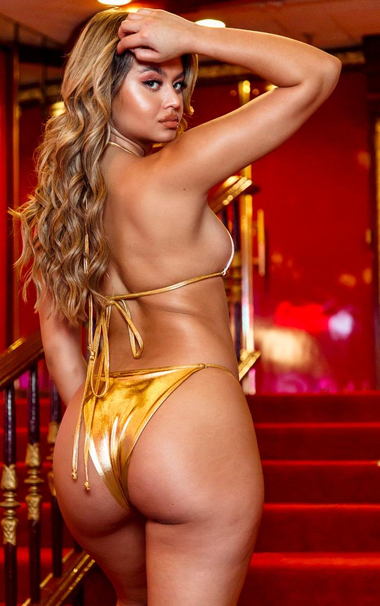 Gold Metallic Triangle Bikini Top 2