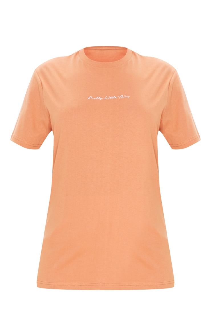 PRETTYLITTLETHING Chestnut Slogan Oversized T Shirt  3