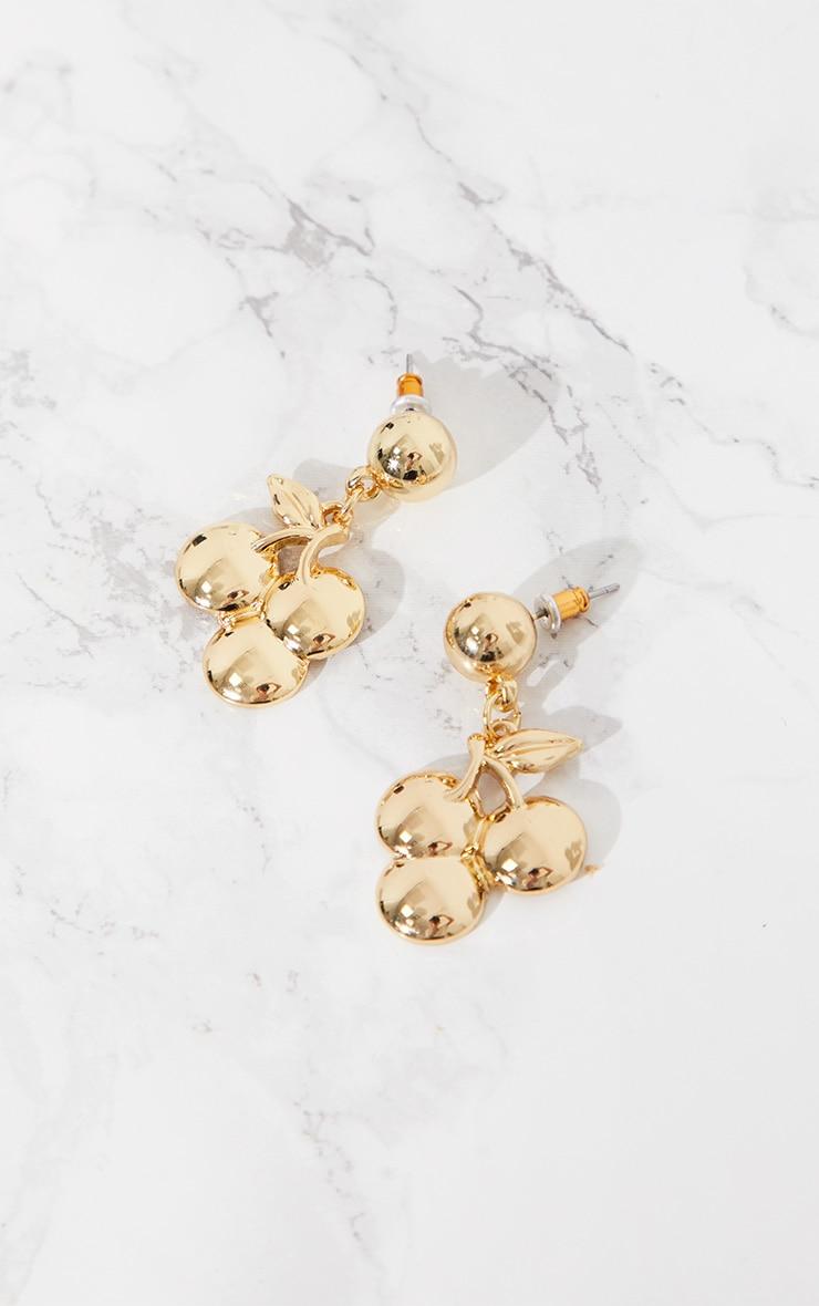 Gold Cherry Drop Earrings 3